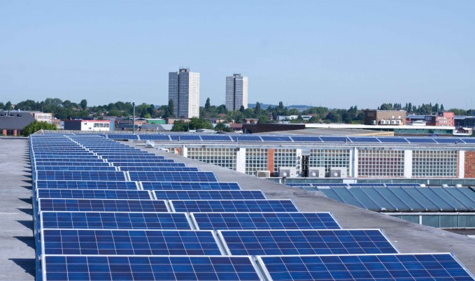 Solar photovoltaic panels on a commercial building